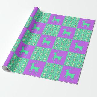 Blaues Ren Weihnachten Geschenkpapier
