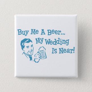 Blaues Retro kaufen mich ein Bier, das meine Quadratischer Button 5,1 Cm