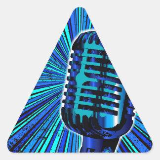 Blaues Retro Mikrofon Dreieckiger Aufkleber