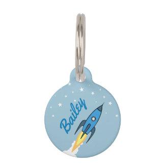 Blaues Retro Rocket-Schiff u. Stern-niedlicher Tiermarke
