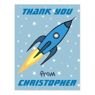 Blaues Retro Rocketship niedliches Postkarte