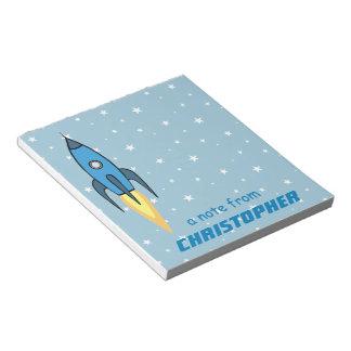 Blaues Retro Rocketship und Stern-niedliches Notizblock