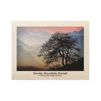 Blaues Ridge-Allee Smokies Sonnenuntergang-Bild Holzposter