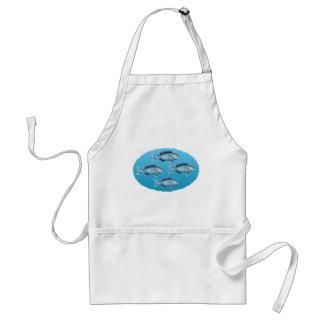 Blaues Riff-Fisch-Oval-Logo Schürze