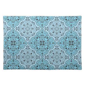 Blaues Rokoko-Muster blühen Tischset