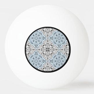 Blaues Rokoko-Muster blühen Tischtennis Ball