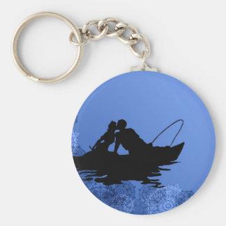 Blaues Romance Standard Runder Schlüsselanhänger