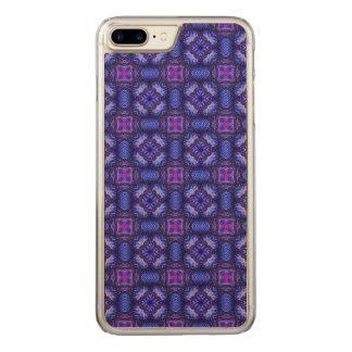 Blaues rosa purpel überprüftes kariertes Muster Carved iPhone 8 Plus/7 Plus Hülle