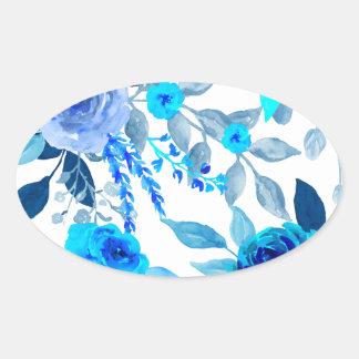 Blaues Rosen-Muster Ovaler Aufkleber