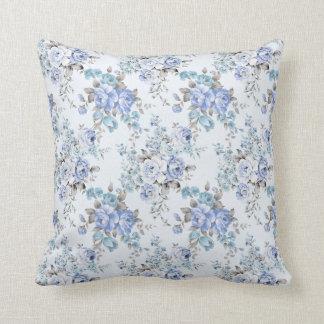Blaues rosiges Blumen-Musterthrow-Kissen Kissen