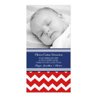Blaues Rot danken Ihnen Baby-Duschen-Foto-Karten Photogrußkarten