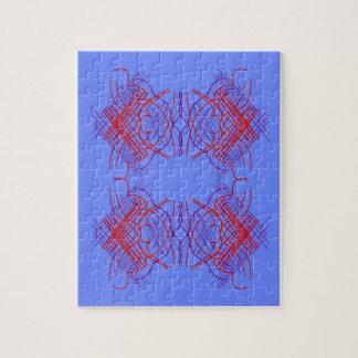 Blaues Rot der Entwurfs-Mandala Puzzle