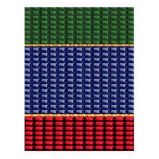 Blaues Rot-Grün-Knopf GESCHENK Postkarte