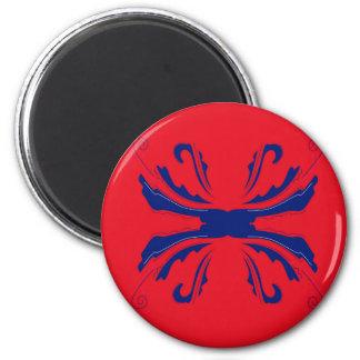 Blaues Rot Verzierungen Runder Magnet 5,1 Cm