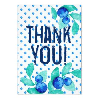 """Blaues rustikales Retro """"danken Ihnen"""" zu Karte"""
