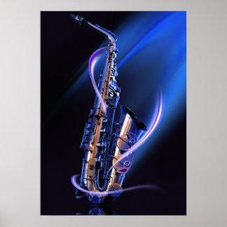 Blaues Saxophon-Plakat Poster