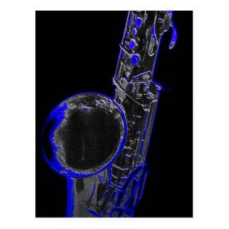 Blaues Saxophon Postkarte