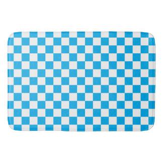 Blaues Schachbrett Badematte
