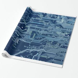 blaues Schaltungsbrettcomputermuster Einpackpapier
