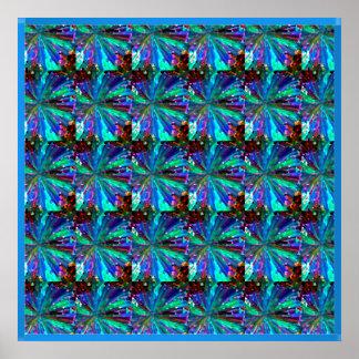 BLAUES Schein-Grafik-Muster Poster