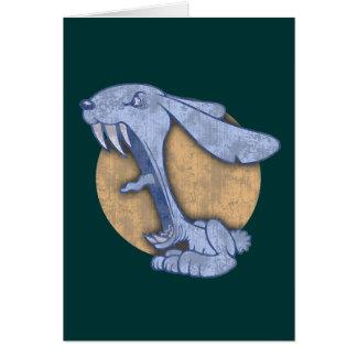 Blaues schlechtes Häschen Grußkarte