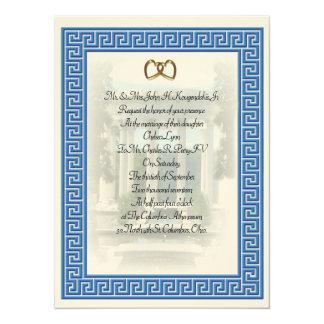 Blaues Schlüsselelegantes griechischer Hochzeit Karte