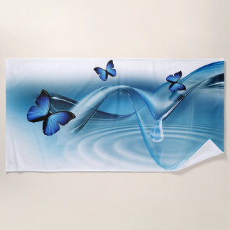 Blaues Schmetterlings-Badetuch Strandtuch