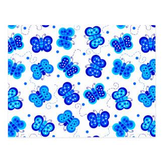 Blaues Schmetterlings-soziales Postkarte