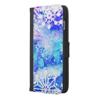 Blaues Schneeflocke-Aquarell iPhone 6/6s Plus Geldbeutel Hülle