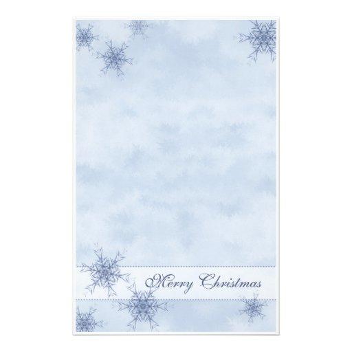 blaues schneeflocke briefpapier bedrucktes papier zazzle. Black Bedroom Furniture Sets. Home Design Ideas