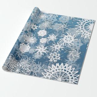 Blaues Schneeflocke-Feiertags-Packpapier Geschenkpapier