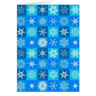 Blaues Schneeflocke-Muster Karte