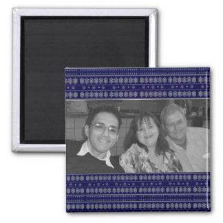 Blaues Schneeflockemuster photoframe Quadratischer Magnet