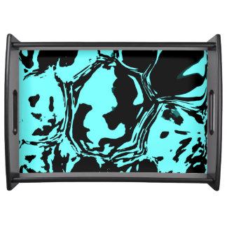 Blaues Schwarz-abstrakte Zusammensetzung Tablett
