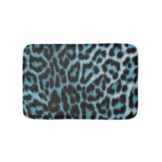 Blaues Schwarz-Leopard-Muster-Druck-Entwurf Badematte