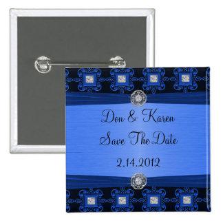 Blaues Schwarz-verzierte Eleganz rettet Datum Quadratischer Button 5,1 Cm