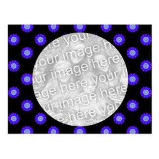 blaues Schwarzes Kaleidoskopmuster-Fotorahmen Postkarte