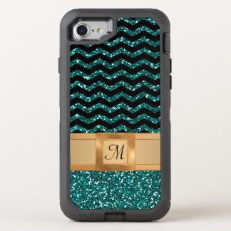Blaues Schwarzes u. GoldGlitter-Zickzack OtterBox Defender iPhone 8/7 Hülle