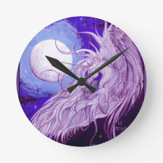 Blaues Schwarzesunicorn-Mond-magisches lila Runde Wanduhr