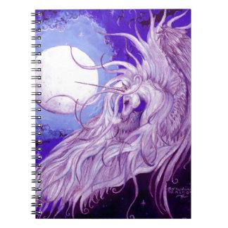 Blaues Schwarzesunicorn-Mond-magisches lila Spiral Notizblock