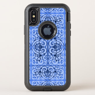 Blaues scrollwork Muster OtterBox Defender iPhone X Hülle