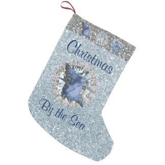 Blaues Seashell-Juwelaquamarine-Silber FauxGlitter Kleine Weihnachtsstrümpfe