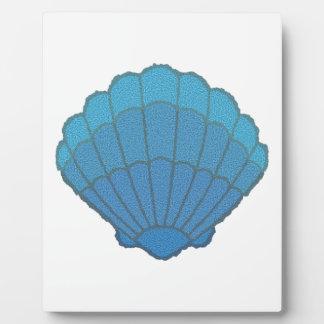 Blaues Seashell-Mosaik Fotoplatte