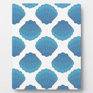 Blaues Seashell-Mosaik-Muster Fotoplatte