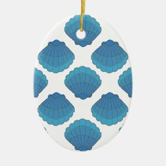 Blaues Seashell-Mosaik-Muster Keramik Ornament