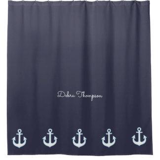 blaues See- der Anker u. personalisiert Duschvorhang