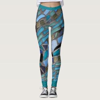 Blaues Seeglas-Mosaik Leggings
