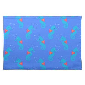 Blaues Seepferd-Muster Stofftischset