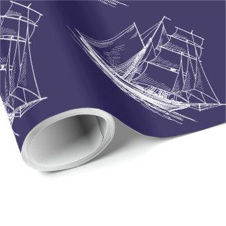 Blaues Seeschiffsboots-Geschenk Packpapier Einpackpapier