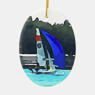 Blaues Segelboot Ovales Keramik Ornament